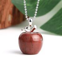 Crystal Quartz Halskette Amethyst Weißer Kristall Apfel Naturstein Anhänger