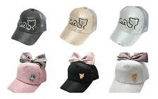 Kids Girls Glitter Embroidered Cat Summer Baseball Beach Cap Age 3 4 5 6 Hat