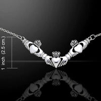 Celtic Irish Claddagh .925 Sterling Silver Necklace by Peter Stone