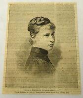 1884 magazine engraving ~ PRINCESS ELIZABETH OF HESSE-DARMSTADT
