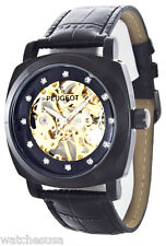 Peugeot Men's Black Leather Mechanical Skeleton Watch 1022BK