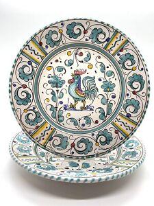 """Vintage Grazia Deruta Italy Green Rooster 8"""" Salad/Dessert Plates Set/2"""