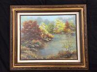 Framed Oil Painting, Landscape, Original, Outsider Art