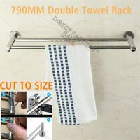 Chrome Double Towel Rail Rack Ring Holder 790mm Wall Mount Stainless Steel Round