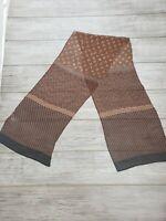 "NWT $85 Harshita 100% Silk Sheer Brown Black Blue Geometrical Scarf 74x14"" light"