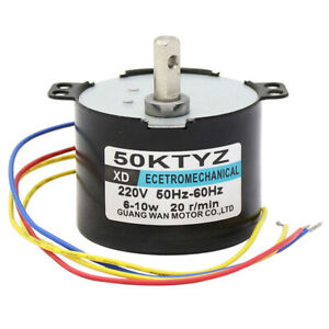 AC220V 6-10W 1-50RPM 50KTYZ Synchronous Motor Permanent Magnet Gearmotor CW/CCW