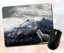Animals ~ White Wolf, Mountains, Snow, Scenic, Peaceful ~ Vivid Mouse Pad