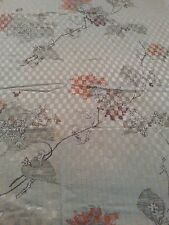 "Minerva cream gold thread floral linen quill print tablecloth 46"" x 76"" vintage"