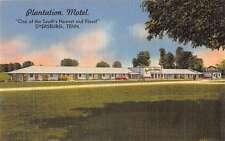 Dyersburg Tennessee birds eye view Plantation Motel linen antique pc Z16399