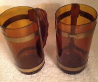 Two Vintage Amber Colored Beer and Ale Mugs
