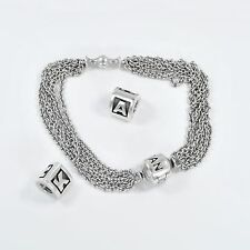 Pandora Bracelet With Initial A and K charms Sterling Silver 6.4""