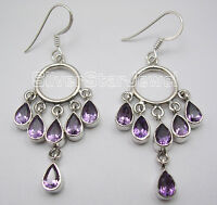 925 Sterling Silver Multistone DROP PURPLE AMETHYST LONG Dangle Earrings 2.2""