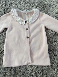 baby girls 6-9 months Pale Pink Peter Pan Collar Cardigan Knitted Cardigan EUC