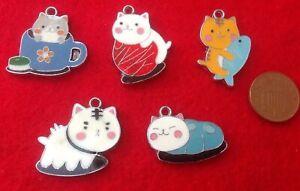 Set of 5 Cute Playful Loving CAT Enamel Pendant Charms F1