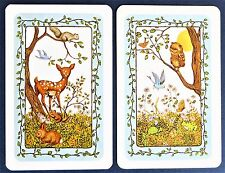 PAIR VINTAGE SWAP CARDS. DEER FAWN & OWL WITH FOREST ANIMALS & BLUE BIRD. TRUMP