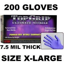 TOPGRIP HEAVY DUTY NITRILE GLOVES, POWDER FREE, 7.5 MIL, 200 GLOVES, XL X-LARGE