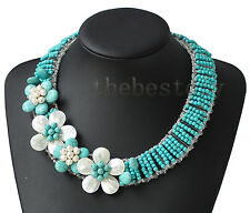 Turquoise Beads Freshwater pearls, shells flower necklace