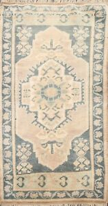 Muted Geometric Authentic Oushak Turkish Oriental Area Rug Hand-knotted Wool 2x3