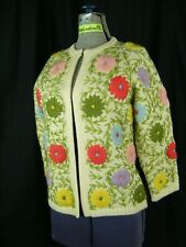 Hand Decorated Vtg 60s Ivory & Colorful Floral 100% Wool Cardigan-Bust 37/Xs