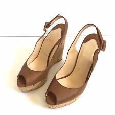 Authentic Christian Louboutin Sz EUR 38 US 7 Peep Toe Leather Wedge Sandals High