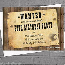 Personalised Wanted Poster Birthday Party Invitations x 12 with envelopes H0178