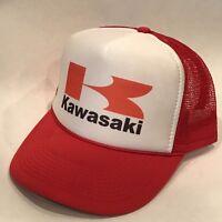 Kawasaki Motorcycle Hat Racing Vintage Style Trucker Mesh Back Snapback Cap Red