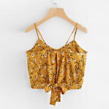Ladies Women Sexy V Neck Floral Print Crop Tops Cami Vest Camisole Blouse Shirt