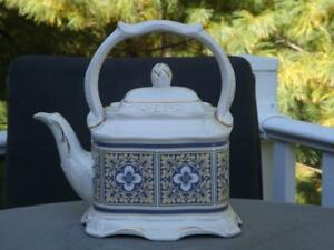 Crown Dorset Staffordshire Teapot Yellow Blue Floral Squares EXC 5 Cups