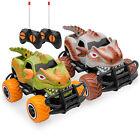 Set of 2 Mini Toy Dinosaur Remote Control Cars 9mph Max Speed Fun Durable Rubber