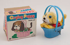 Wind Up Crying Puppy Yips in Box Dog in Basket Japan MM Toys (B5R)