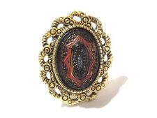 RING MORROCCAN STYLE TEXTURED BLACK GOLD RAISED DESIGN GOLD TONE COVENTRY