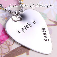 Personalised Hand Stamped Name Guitar Pick Necklace Birthday Valentine Gift D155