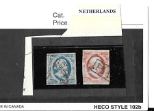 NETHERLANDS 1852 USED SC #1-2  FIRST KING WILLIAM DEFINITIVES.