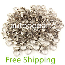 "100pcs 3/8""-1/2"" Adjustable Stainless Steel Drive Hose Clamps Fuel Line Clip"