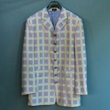 Raspinni Men's Zoot Suit Jacket Blazer Lavender Silver Square Pattern Wool 42 L