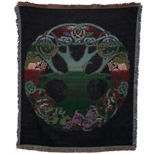 Rainbow Celtic Tree of Life Throw Blanket