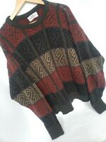 Vintage 80s 90s Jantzen Sweater Large Red Tan Gray Mens Large Geometric Design