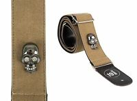Brown Embossed Skull Acoustic Electric Bass Guitar Strap Gothic Rock Death Metal