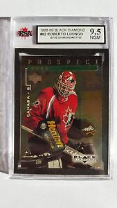 Roberto Luongo 1998-99 Quad Black Diamond Emerald Rookie Hockey Card #57/100!!!!