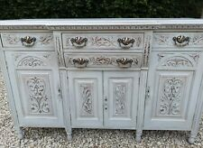 CARVED SHABBY CHIC ANTIQUE VICTORIAN CHIFFONIER SERVER SIDEBOARD PAVILION  GRAY