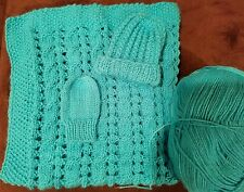 hand-knitted beautiful baby blanket +hat+mittens(turquiose)