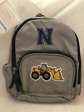 """""""N"""" Monogrammed Pottery Barn Pre-K Backpack New Fairfax Gray Front End Loader"""