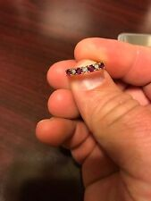 Vintage 14 KP (Plumb) Woman's Yellow Gold Ring With Diamonds & Red Rubies Size 5