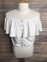 Free People Sz S White Off Shoulder Ruffle Button Down Cropped T Shirt Blouse