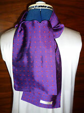 100% woven silk men's cravat/scarf  Red polka dots on purple background  NEW