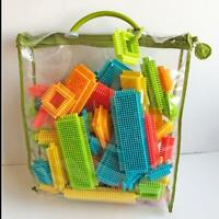 Bristle Blocks 56 pc Spinneroos Bright Colors Shapes New Parents Carry Tote