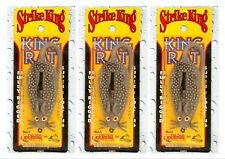 """(3) Strike King Fully Rigged Super Floating 4"""" King Rat Rodent Grey Brand New"""