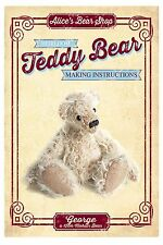 Teddy Bear Making Pattern & A5 Instructions booklet - George 12cm when made