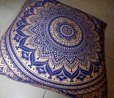 Cotton Square Floor Cushion Cover 35 Inches Animal Print Mandala Design Ethnic