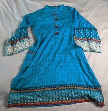 J. Pret Women's Long Sleeve Embroidered Kurta Tunic JM4 Blue Large